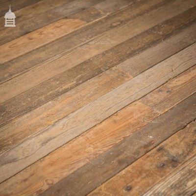 """Batch of 28 Sqms of Reclaimed 4"""" Pitch Pine T & G Floorboards"""
