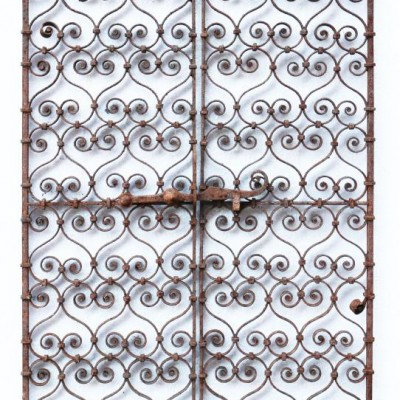 Pair Of 19th Century Wrought Iron Ornate Window Grills