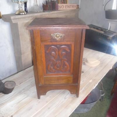 Vintage wooden carved coal scuttle