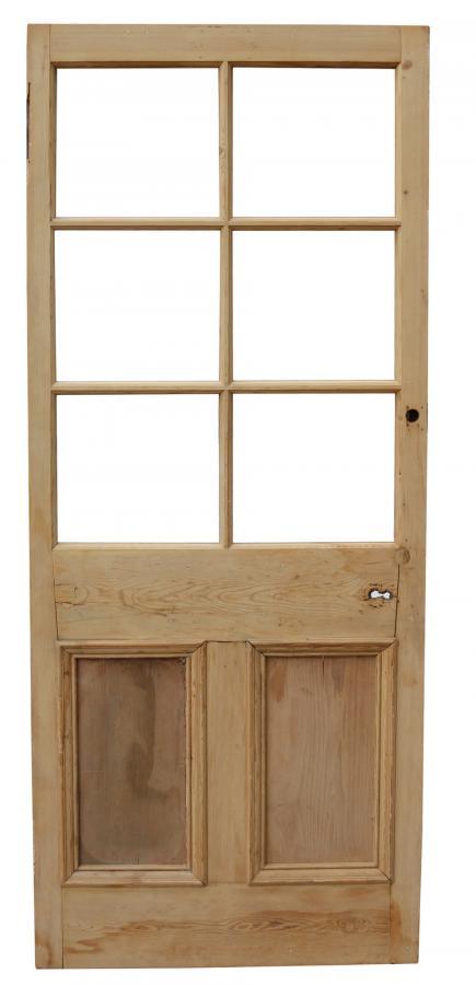Reclaimed Stripped Pine Six Panel Glazed Door
