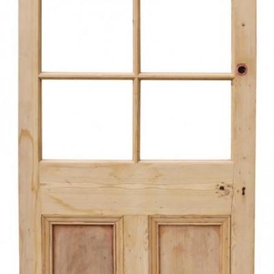 Stripped Pine Six Panel Glazed Door