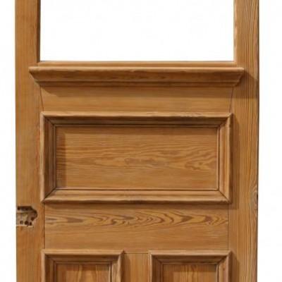 Antique 19th Century Stripped Pine Heavy Front Door