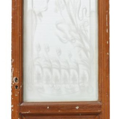 19th Century French Painted Pine Etched Glass Door
