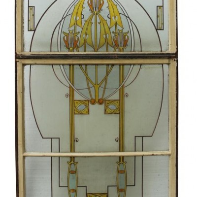 Art Nouveau Hand Painted Stained Glass Window