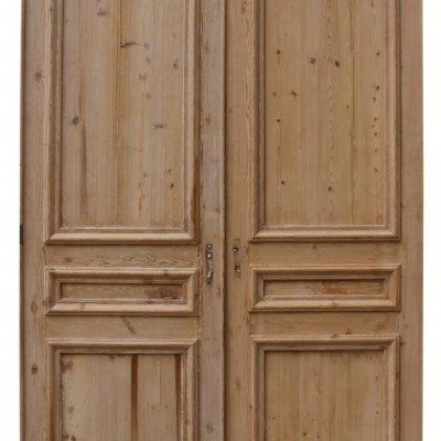 Pair Of Antique Stripped Pine French Double Doors