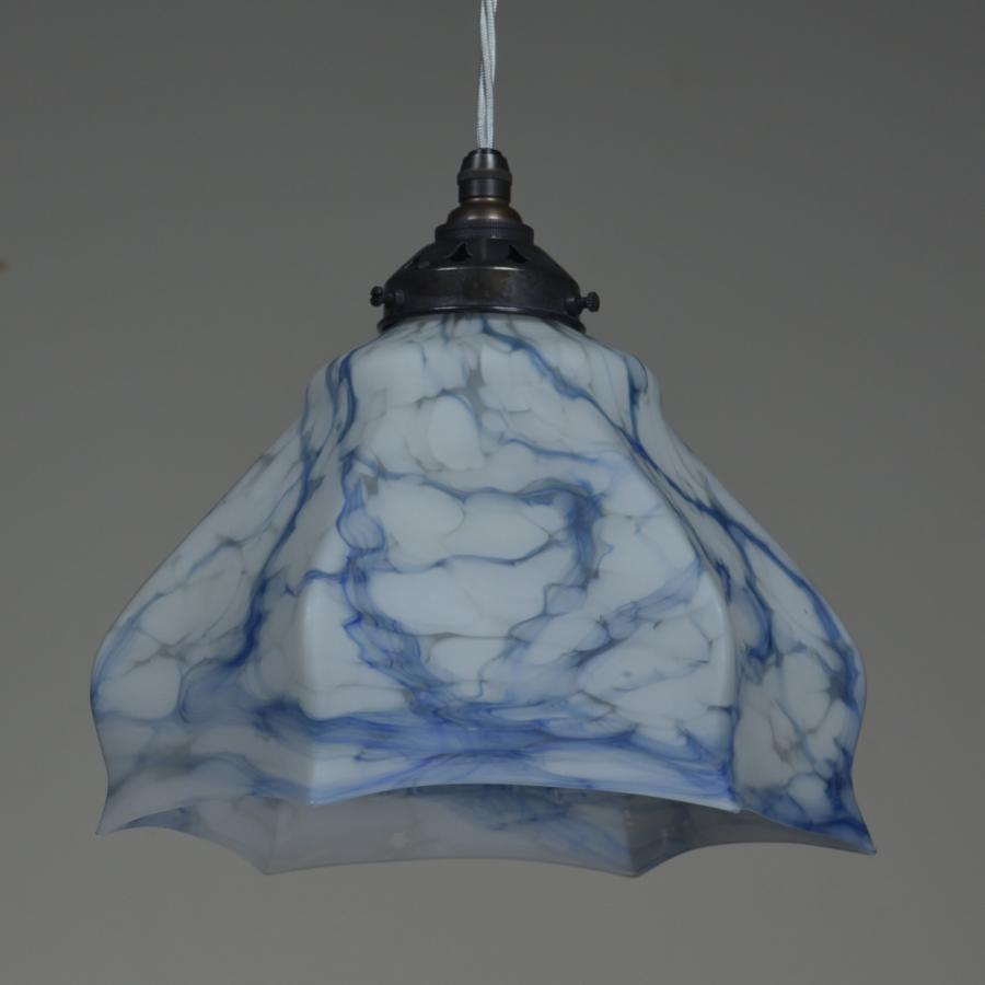 Antique Edwardian marbled hanging light