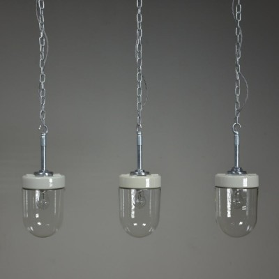 vintage Ceramic & Glass domed pendant lights