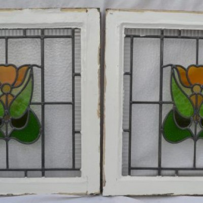 2 leaded light stained glass windows. R623b