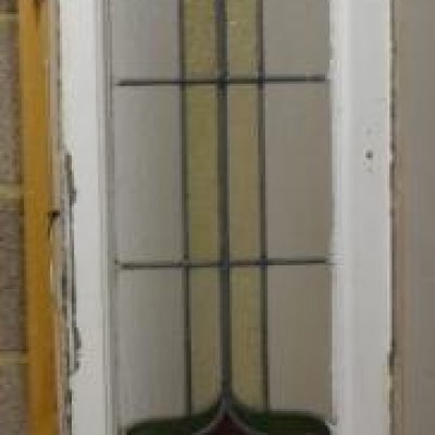 Large leaded light stained glass window. R593