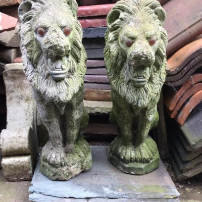 Pair of Weathered Lion Garden Statues