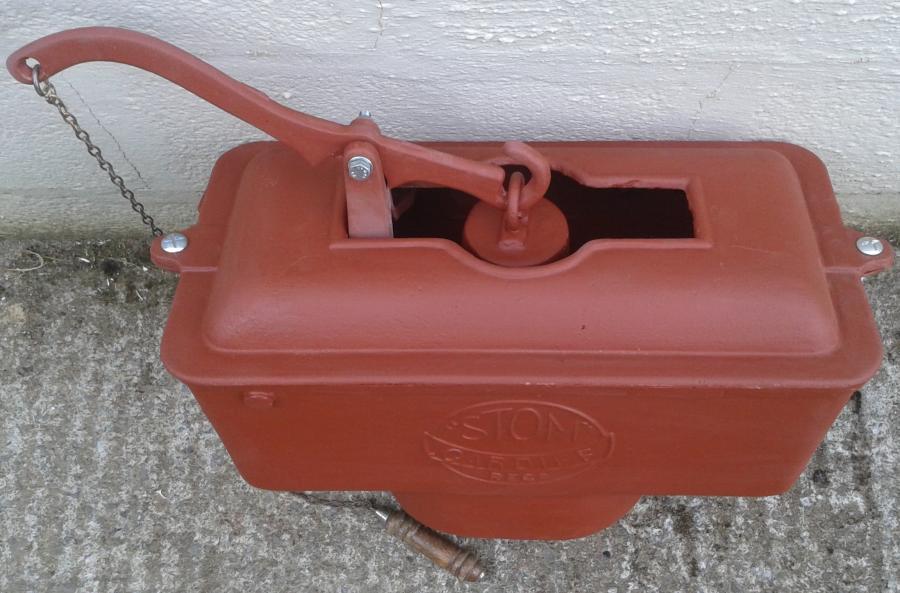 Reclaimed cast iron toilet cistern.