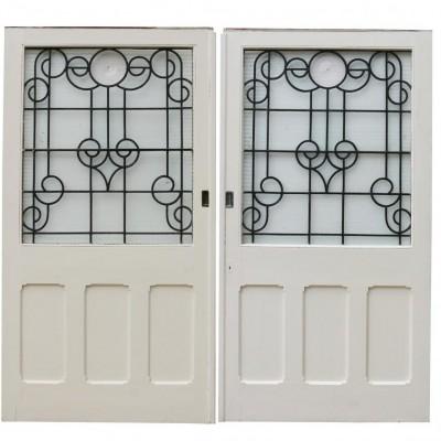 Pair Of Painted Pine Antique Dividing Doors
