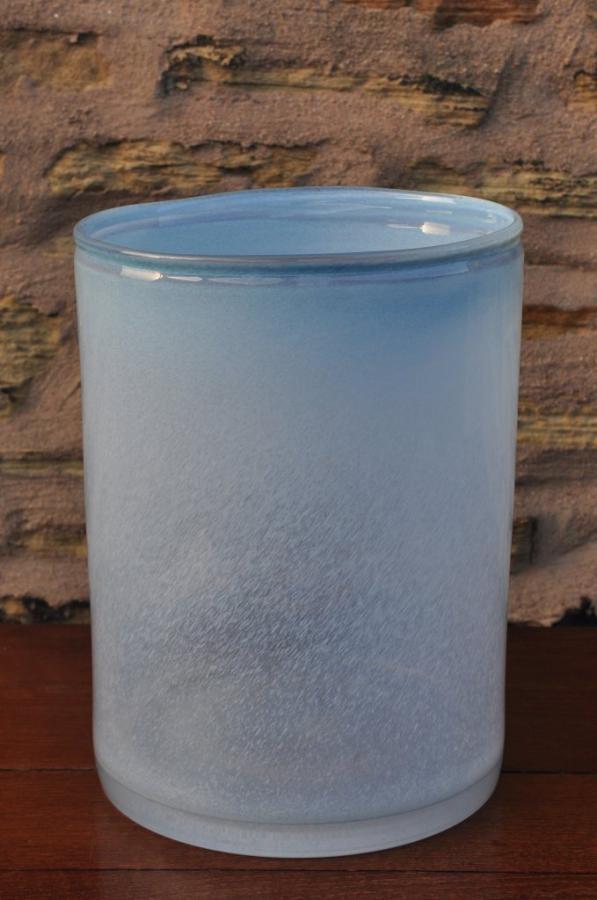 large blue glass cylinder vase vessel