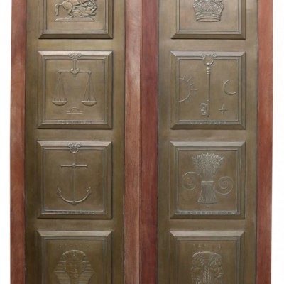 Pair Of Brazilian Mahogany And Bronze Doors Circa. 1900