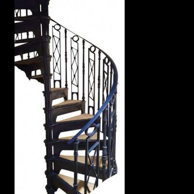 Original Blue Cast Iron Spiral Staircase