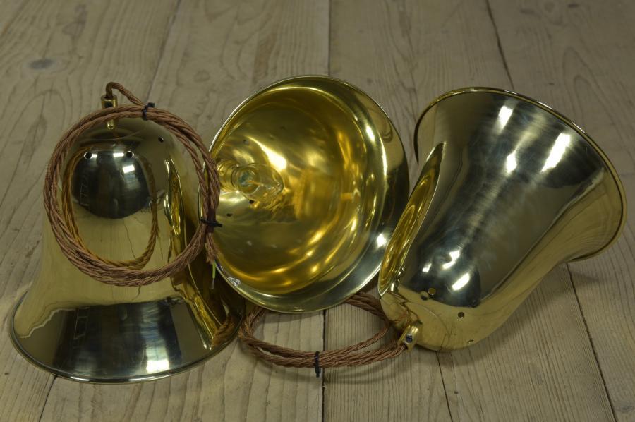 trio antique brass bell shades