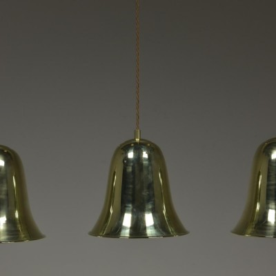 trio antique brass bell shades