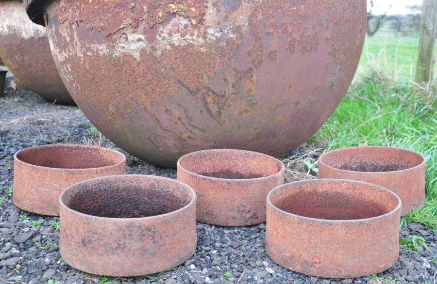 5 antique cast iron bowls