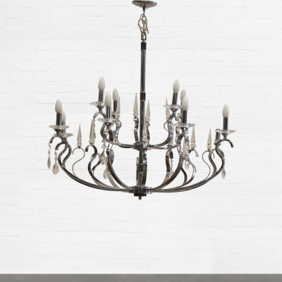 Chrome and Cut Glass Chandelier