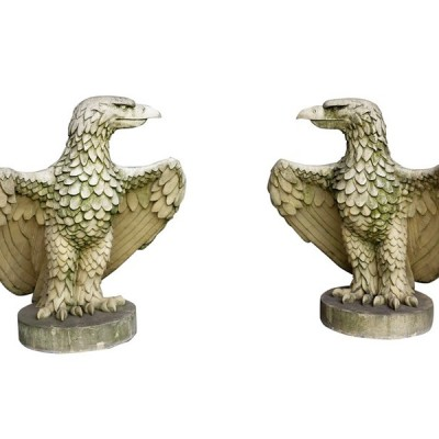 Large Reconstituted Buff Coloured Stone Pair of Gate Pier Eagles