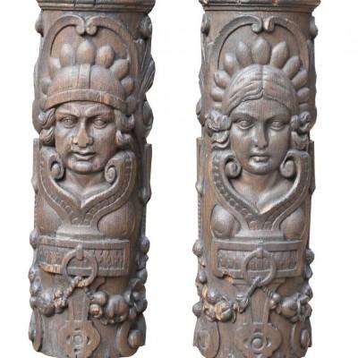 Pair Of 19th Century Oak Carvings