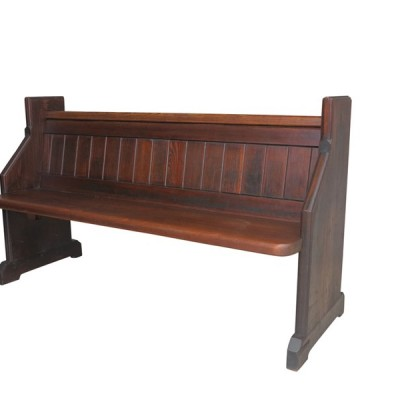 "Old Reclaimed Pitch Pine Church or Chapel Pew 59 3/4"" Long"