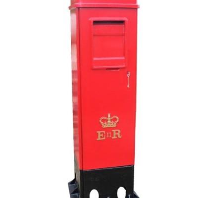 Rare Original Cast Iron Square ER II Pillar Box with Two Doors