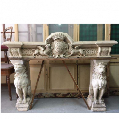 Exceptional Antique Renaissance Stone Fireplace
