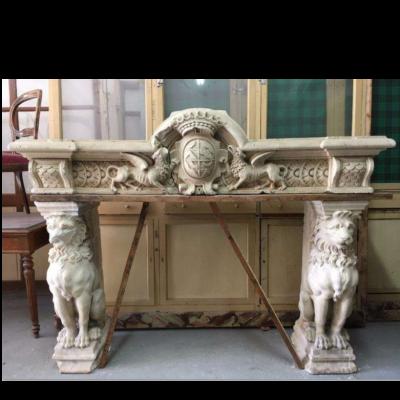 Exceptional Antique Renaissance Stone Fireplace