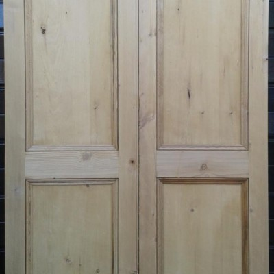 Pair of Victorian pine paneled cupboard / wardrobe doors.