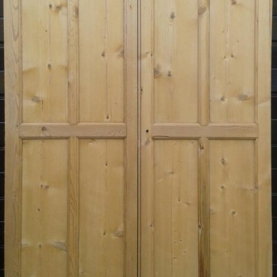 Pair of antique pine cupboard / wardrobe doors.