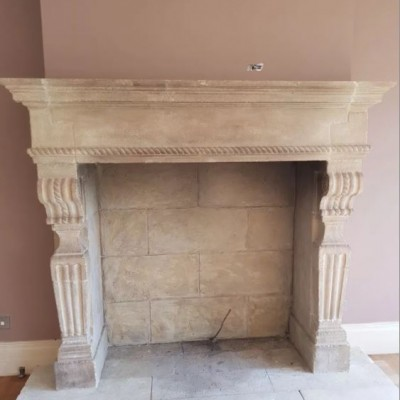 Antique Renaissance Stone Fireplace