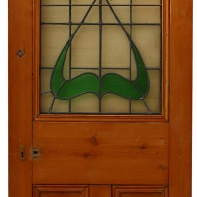 Art Nouveau Stained Glass Pine Interior Door