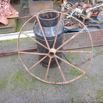 old original cast and wrought iron wheel