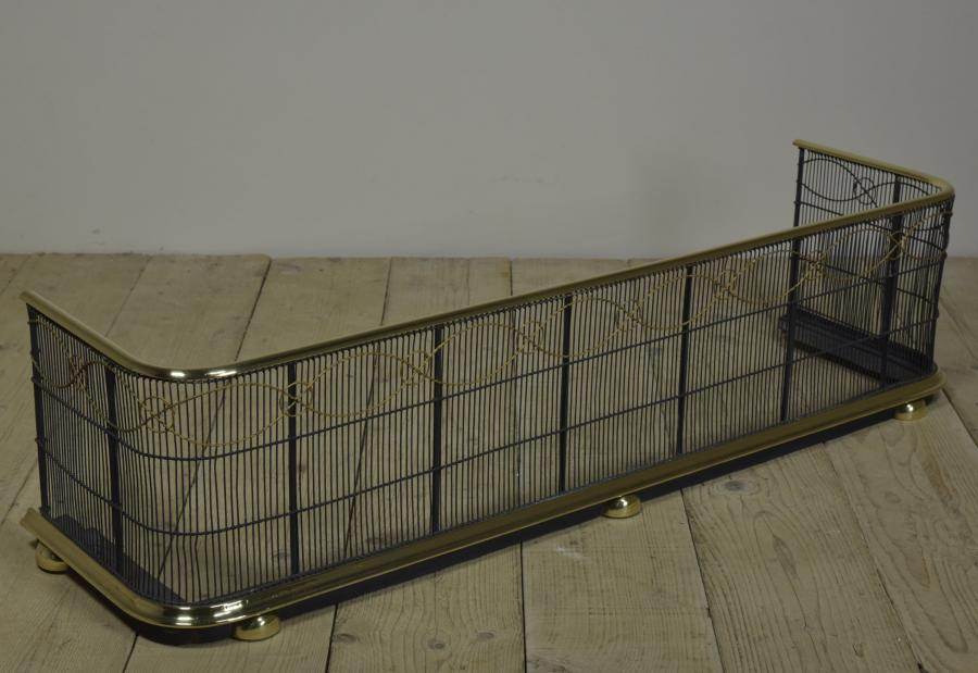 Antique 19th C brass and wirework fire guard - fender
