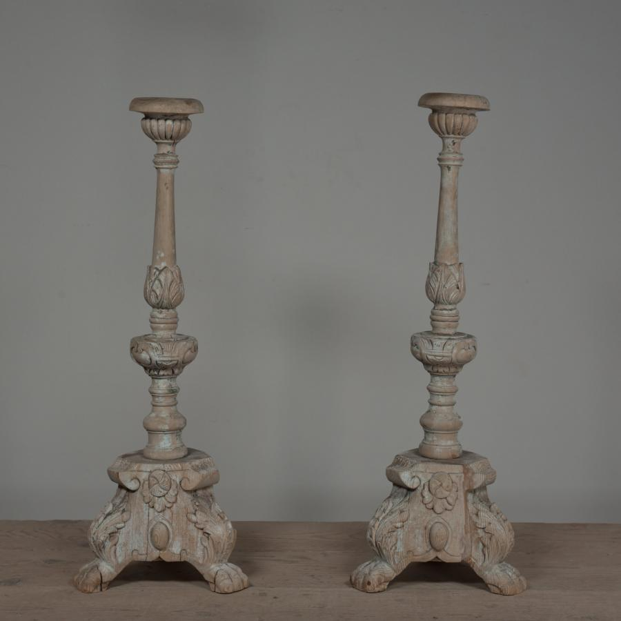 Baroque carved antique candlesticks table lamps