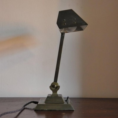 a 1920s / 30s antique bronze brass office desk lamp