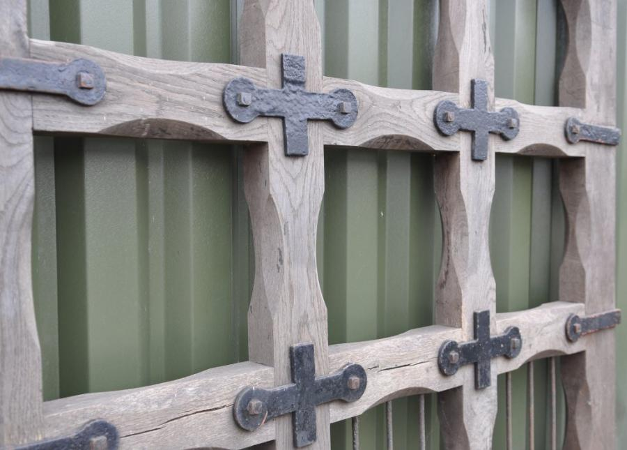 large  pair of antique 19th century oak and iron gates